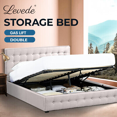 AU299.99 • Buy Levede Bed Frame Base With Gas Lift Storage Double Size Beige Platform Fabric