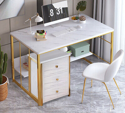 Home Computer Desk PC Table Office Laptop Writing Study Metal 3 Drawer Cabinet • 68.49£