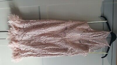 Lipsy VIP - Brand New Nude Lace Halterneck Dress With Feather Rim To The Hem, 14 • 21£