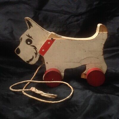 Vintage Chad Valley Wooden Toy Pull Along Dog Westie On Wheels, Nodding Head • 45£