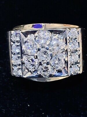 $1750 • Buy Mens Natural Mined Diamonds Solid 14k Gold Ring.