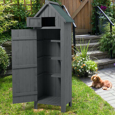Outdoor Wooden Storage Shed Yard Garden Tools Cabinet Slim House Sentry Box Grey • 189.95£