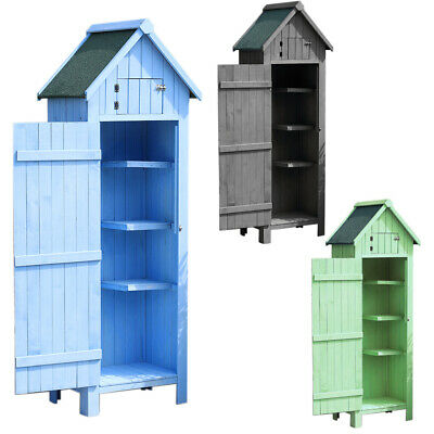 Wooden Cabinet Garden Storage Shed Yard Outdoor Tools Box Small House Lockable • 189.95£