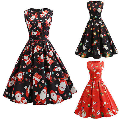 AU17.49 • Buy Women Christmas Summer Party Swing Skater Rockabilly Xmas Sleeveless Dress *