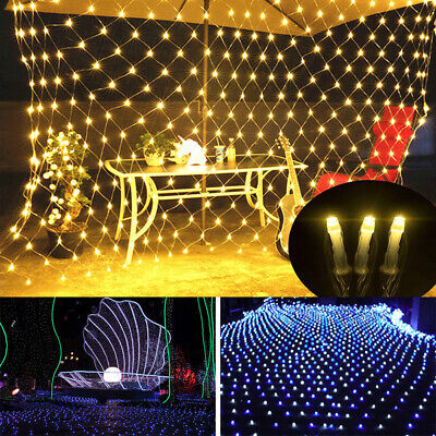 LED String Fairy Net Lights Outdoor Garden Tree Curtain Window Christmas Decor • 15.34£