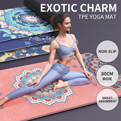AU59.99 • Buy TPE Yoga Mat Extra Large Dual Layer Non Slip Pad Mat Exercise Fitness Gym Pilate