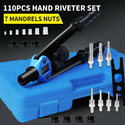 AU49.99 • Buy 110Pcs Nut Riveter Kit Heavy Duty Mandrels Riveting Gun Tool Kit Thread M3-M12