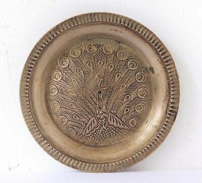 £28.02 • Buy Old Vintage Beautiful Hand Carved Peacock Design Brass Small Round Plate #810