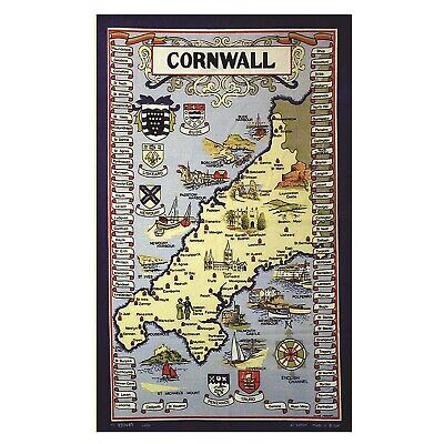 £4.50 • Buy Cornwall Map With Towns And Crests Cotton Tea Towel Souvenir
