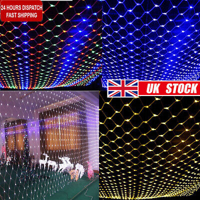 LED String Fairy Net Lights Curtain Mesh Waterproof For Christmas Tree Party DIY • 15.75£