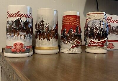 $ CDN97.19 • Buy Budweiser Holiday Beer Steins Lot Of 4 Collectible 2011,2012,2013 & 2015