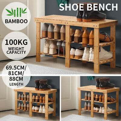 AU39.99 • Buy Bamboo Shoe Rack Stand Bench 3 Tier Cabinet Shoes Storage Shelf Organiser