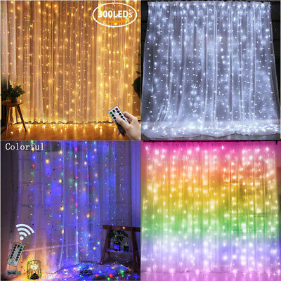 300 LED Curtain Window Fairy String Lights Copper Wire Indoor Oudoor Xmas Decor • 10.93£