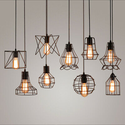 £9.59 • Buy Metal Pendant Light Shade Ceiling Industrial Geometric Wire Cage Lampshade Lamp