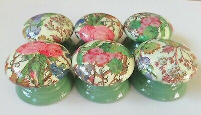 6 LARGE 55mm Hand-Decoupaged Pine Drawer/Door Knobs Green Floral (One Set Only) • 24£