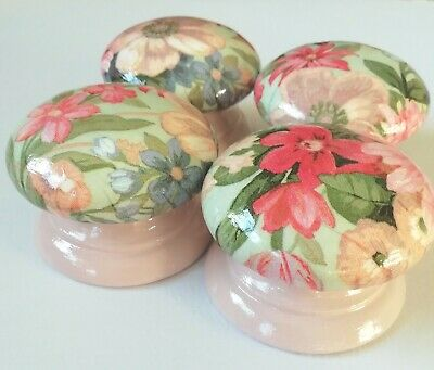 4 LARGE 55mm Hand-Decoupaged Pine Drawer/Door Knobs Green Pink Floral  • 16£