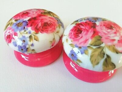 LARGE Hand-Decorated Pine Drawer/Door Knobs White Pink Floral Rose £4.50 EACH  • 4.50£