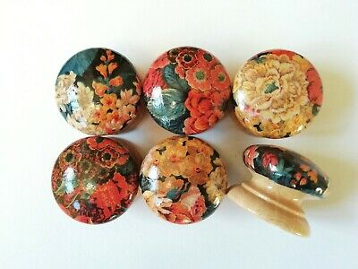Set Of 6 LARGE 46mm Hand-Decorated Pine Drawer/Door Knobs Floral £4.50 PER KNOB  • 24£
