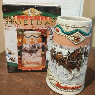 $ CDN18.13 • Buy Budweiser 1996 Holiday Ceramic Stein Anheuser Bush Clydesdales NIB