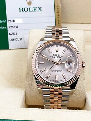 $ CDN17333.75 • Buy Rolex Datejust 41 126331 Sundust Dial 18K Rose Gold Stainless Box Papers 2017
