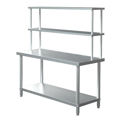 Stainless Steel Kitchen Prep Work Table Bench AND Over Shelf Commercial Catering • 155.94£