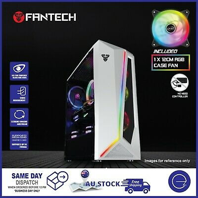 AU69 • Buy Computer PC Case Tempered Glass ARGB Strip ATX Gaming Tower With 1x RGB Case Fan
