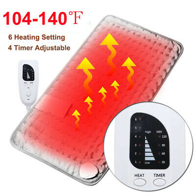 Electric Heat Pad 6 Heat Settings 4 Timer Muscle Tension Back Neck Pain Relief • 24.59£
