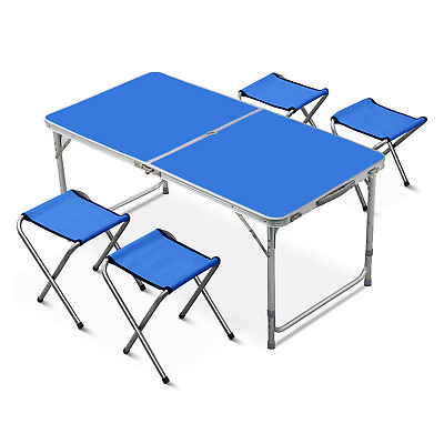Indoor/Outdoor Portable Table Set 4 Chair Folding Camping Dining Picnic- Blue • 25.99£