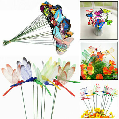5x Ornament Simulation Butterfly Stick Artificial Dragonfly With Stem Lawn Decor • 1.99£