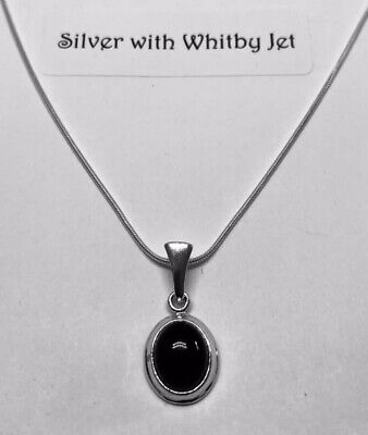 £28 • Buy Whitby Jet  Oval Pendant, With Sterling Silver 18 Inch Snake Chain