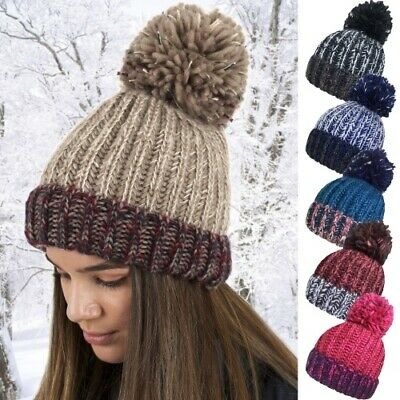 £5.99 • Buy New Ladies Womens Chunky Cable Knit Thick Winter Large Pom Pom Bobble Ski Hat Uk