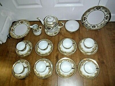 Noritake Heavily Gilded 30 Piece Tea Set For 8 ~ Inc Teapot & Stand ~ Excellent • 95£