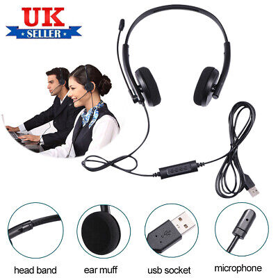 USB Headphones With Microphone Noise Cancelling Headset For Skype Laptop Black • 10.31£
