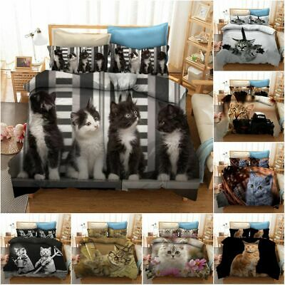 3D Cat Cute Kitten Duvet Cover Bedding Set Pillow Cases All Sizes Double Single • 36.99£
