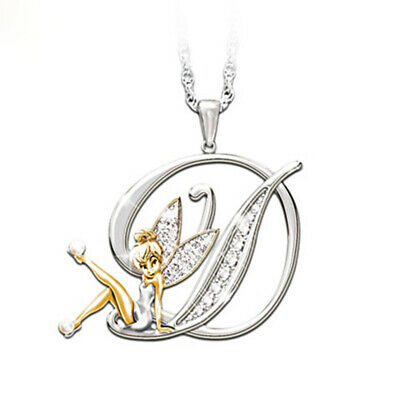 £2.99 • Buy Stunning Tinkerbell Fairy Alphabet Letter  D   Pendant Necklace With Organza Bag