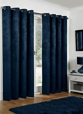 Luxury Navy Blue Embossed Thermal Blackout Eyelet Ringtop Heavy Pair Curtains • 27.96£