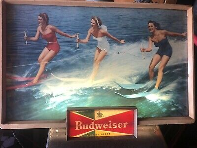 $ CDN816.66 • Buy Budweiser Lighted RARE SKIING BEAUTIES  BAR LIGHT PUB SIGN VINTAGE
