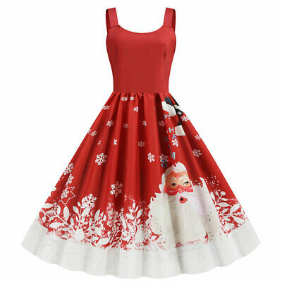 AU21.27 • Buy Women Christmas Sleeveless Midi Skater A-Line Swing Dress Xmas Party Prom Gowns