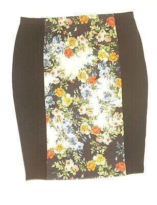 AU21.50 • Buy ASOS Curve Size 22 Stretch Paneled Black Floral Skirt Pull On Elastic Waist EUC
