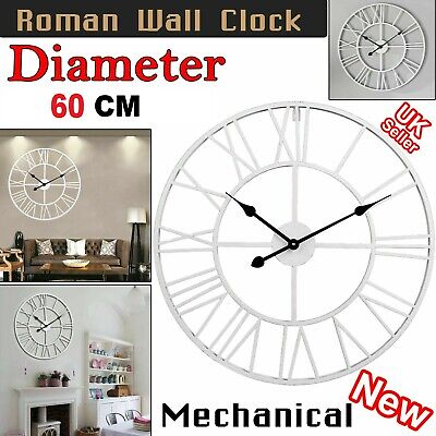 Extra Large 60CM Outdoor Garden Roman Numeral Wall Clock Metal Round Face White • 16.85£