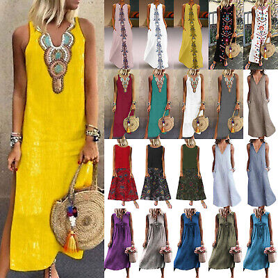 AU19.56 • Buy Plus Size Boho Women Lady Sleeveless Kaftan Maxi Dress Tunic Summer Beach Party