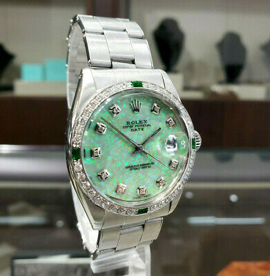 $ CDN6604 • Buy Mens Vintage ROLEX Oyster Perpetual Date 34mm GREEN OPAL Dial Diamond Stainless