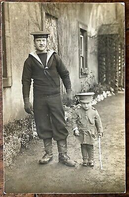 Antique Ww1 Rppc Member Of The Coast Guard In Uniform Young Son In Army Uniform  • 8.50£