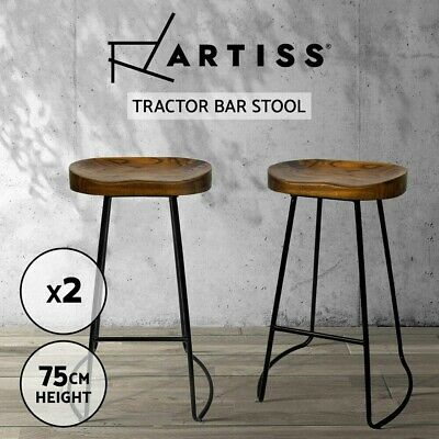 AU118.90 • Buy Artiss 2 X Vintage Tractor Bar Stools Wooden Stool Industrial Chairs Set Black