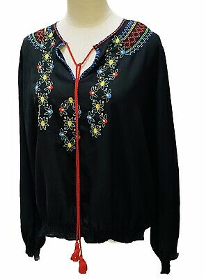 AU28.95 • Buy ASOS CURVE Womens Size 20  Long Sleeve Bohemian Blouse Black Embroidered Detail