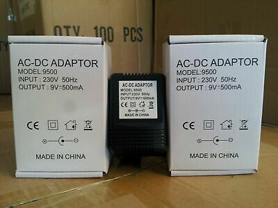 £5.99 • Buy 9v 500ma Ac/dc Centre Negative 2.1mm X 5.5mm 2m Unregulated Power Supply Adapter