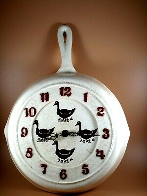 Vintage Ceramic Frying Pan Wall Clock Farmhouse, Country Décor Ducks 12 X8  • 12.76£