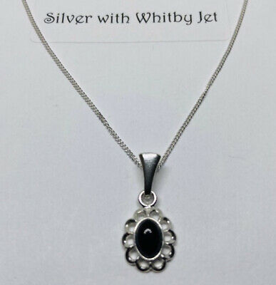 """£24 • Buy Whitby Jet And Silver Pendant With 18"""" Curb Chain"""