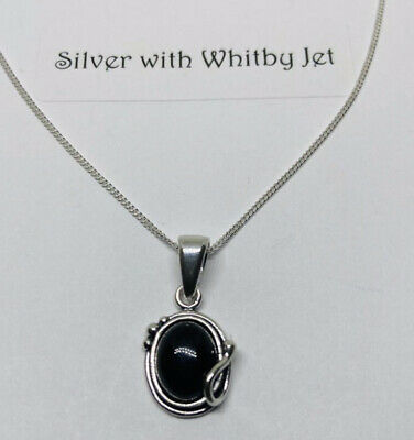 """£25 • Buy Whitby Jet And Silver Classic Pendant With 18"""" Curb Chain"""