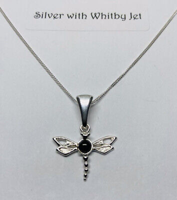 """£22 • Buy Whitby Jet And Silver Dragon Fly Pendant With 18"""" Curb Chain"""